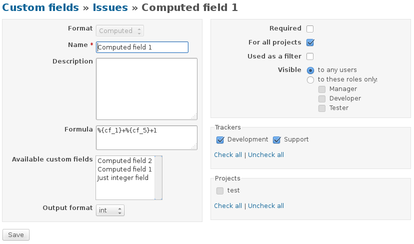 redmine plugin computed custom field