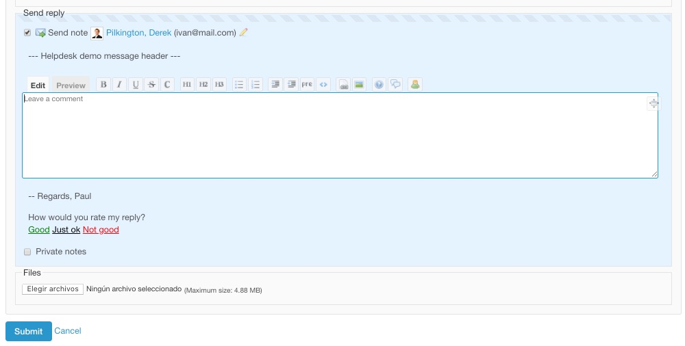 Helpdesk Screenshot